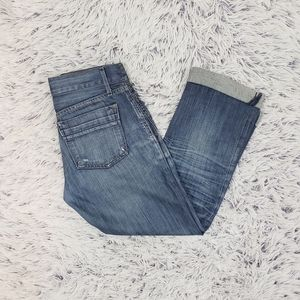 Gap Dark Wash Distressed Cuffed Jeans